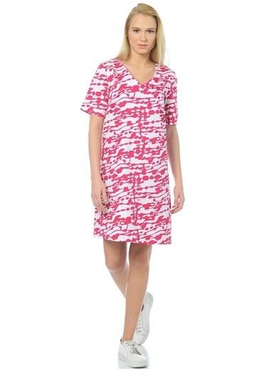 Cotton Bar Kısa Kollu Desenli Elbise Fuşya
